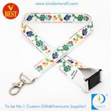 Custom Printed Polyester Woven Nylon Tubular Card Holder Keychain Dye Sublimation Heat Transfer Printing Neck Strap Lanyard Webbing Ribbon with Safety Clasp
