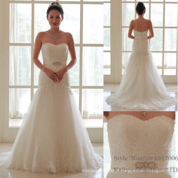Novo modelo de vestido de noiva de marfim elegante de marfim elegante 2016