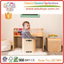 2015 Nuevos muebles preescolares de madera del color caliente de la naturaleza del diseño fijaron