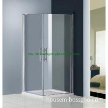 Simple Frameless pivot door corner entry shower enclosure