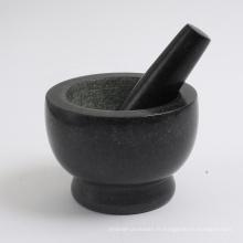 """mortier et pilon de granit noir 5 """""""