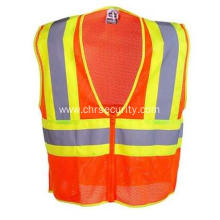 Unisex Orange High Visibility Two-Tone Work Vest