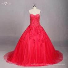 TW0170 Applique Work Design vestido de casamento vermelho vestido de bola