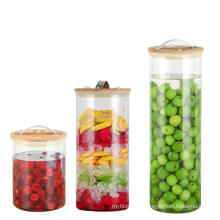 High Borosilicate Airtight Glass Storage Jar Set with Bamboo Lid