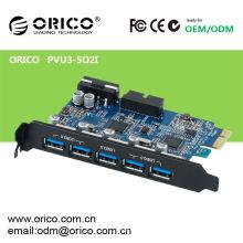Carte PCI-E Express ORICO USB 3.0 avec 5 ports USB 3.0 et connecteur d'alimentation 5 broches à 4 broches pour ordinateurs de bureau