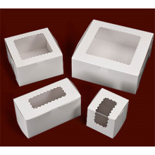 Cardboard cake boxes with windows