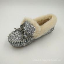 Sliver Glitter PU Cute Kids Sapatos Crianças Indoor Slippers