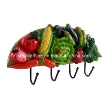 Gancho de parede com decoração de vegetais, Gancho de suspensão de resina