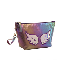 Embroidered Logo Ladies Shell Cosmetic Handbag Travel Beauty Pouch Waterproof PU Leather Mini Make Up Bag