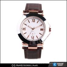 Relógio de elegância para senhora, relógio de quartzo de couro genuíno