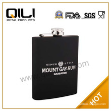 FDA 200ml high quality 304 stainless steel wine hip flask with silk-screen