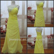 Sexy Yellow One Shoulder Evening Gowns Rhinestone A Line Real Simple Chiffon Beaded Bodice Prom Dress DP348