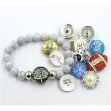 Moda cinza plástico Crack Beads Bracelet com botão Snap Jóias