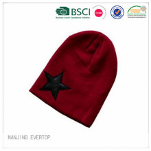Long Design 100 Acrylic Star Patch Knitted Hat