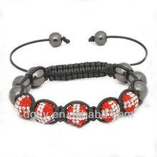 Swiss Flag Crystal Stones Beads Macrame Bracelet