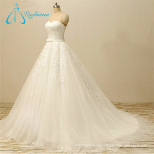 A-Line Sweetheart Lace Appliques Tulle Love Forever Wedding Dress