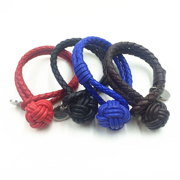 Trendy Design Custom Monkey Fist Knot Leather Bracelet