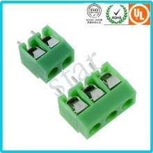 Custom 5.0 mm Pitch Screwed 3 Pin Green PCB Terminal Block