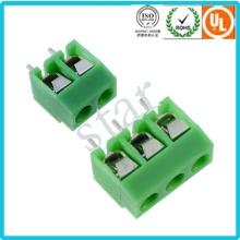 Personalizado 5,0 mm Pitch estraguei 3 pinos verde PCB Terminal bloco