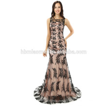 2017 nouvelle mode Charme OEM service petite queue longue soirée robe modèles avec dentelle de couleur noire