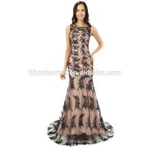 2017 nova moda encantadora serviço DO OEM pequena cauda longa padrões de vestido de noite com laço de cor preta
