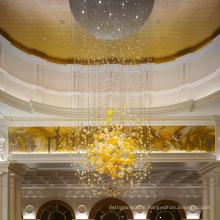 Lustre de boule de cristal de hall magnifique personnalisé à la mode