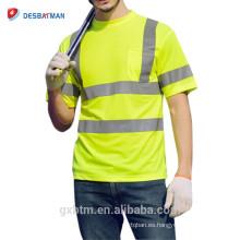 Camiseta de seguridad de alta visibilidad reflectante Hi-Vis de poliéster color verde lima manga corta Camiseta de alta visibilidad de cuello clase 2 alta visibilidad con bolsillo