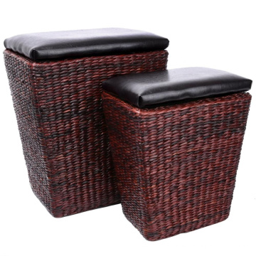 Rattan Ottoman with Storage Furniture Leather Ottoman Seating Storage Bench Ottoman with Tray Small 2-Piece,Brown