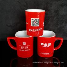 Taza personalizada taza de cerámica roja negra impresa para la bebida