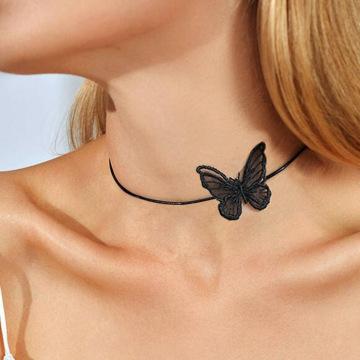 Laço branco preto borboleta gargantilha copo curto colar de pingente para meninas mulheres