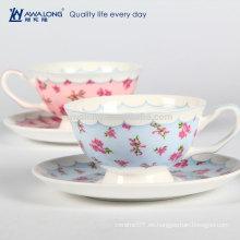 Pintura floral azul y rosada La flor caliente de la venta formó la taza de té, taza de café hecha en hueso China