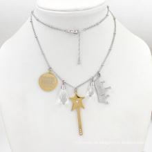 Silber-Goldart und weise hängende rostfreie Schmucksache-Halskette