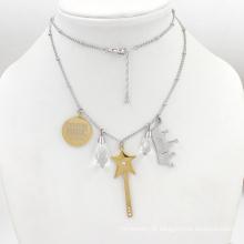 Prata de Ouro pingente de moda Colar de jóias inoxidável