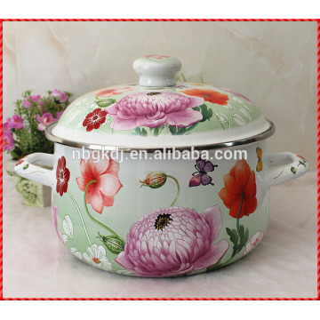 White color decal customized enamel cooking pot
