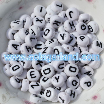 4x7MM Acrylic White Single Letter/ Alphabet Beads A-Z Acrylic Coin Round Spacer Beads