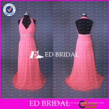 Real Sample Sweetheart Chiffon Rose Long Bridesmaid Dress With Beaded Sash