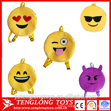 funny cheap factory plush emoji backpacks for kids