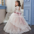 Top selling new double lace decoration baby girl gown wedding dress Winter design long sleeve laced new 4 year old girl dress