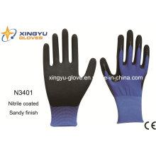 Защитные перчатки из полиэфирной оболочки нитрила с песком (N3401)