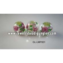 Floral print ball shape lampwork glass beads