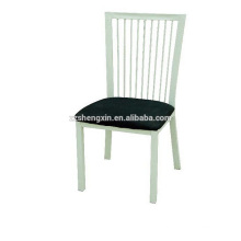 Modern Hotel Chair with Cushion, Metal Dining Chair Backrest