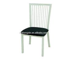 Cadeira de hotel moderno com almofada, encosto de cadeira de jantar em metal