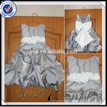 FG7 Cinza de prata cinza branco cetim fitas Bow bebê vestido de noiva menina