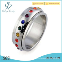Acier inoxydable arc-en-ciel anneau de promesses gay, lgbt bijoux ange bijoux