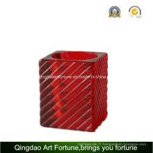 Porte-bougie en verre Cube Glass Tealight pour décoration intérieure Afch-F6074