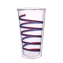Langes Borosilikat-Doppelwand-Glastrinkglas mit Abziehbild-Drucken