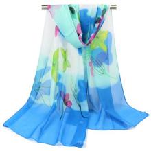 Color único vario estampado de flores chal bufanda de organza Pakistán hijab