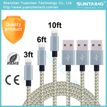 1m/2m/3m Nylon Braided Fast Charging 8pins Data USB Cable for iPhone iPad