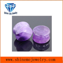 Jewelry Gemstone Amethyst Stone Double Flare Earplug Tunnel