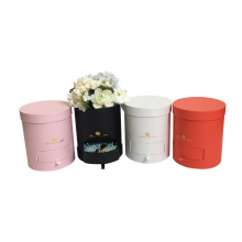 Round luxury flower hat box with drawer